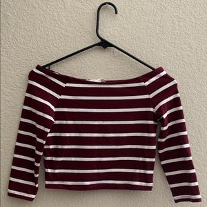 Forever 21 Burgundy Striped 3/4 Sleeve Crop Top